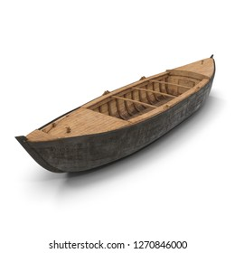 Large Wooden Freight Boat on White Background 3D Illustration Isolated