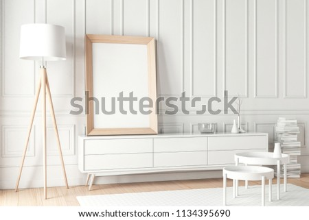 Large Wooden Poster Frame Mockup Standing Stock Illustration