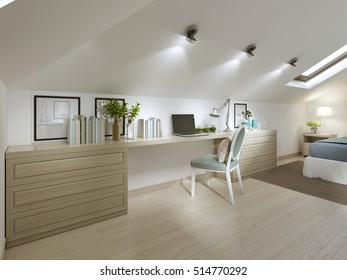 Large work Desk with chair in the bedroom. Tables, books and a laptop. 3D render.
