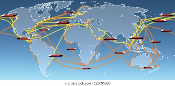 the large world shipping routes map.