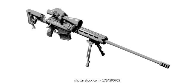 Large-caliber, semi-automatic, anti-materiel sniper system. Sniper rifle M82 in sketch style.