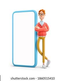 Larry den Nerd.  Nerd Larry steht neben einem großen Telefon. 3D-Abbildung.