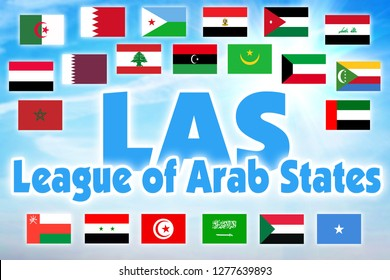 LAS, League of Arab States. International organization of countries of Arabian region