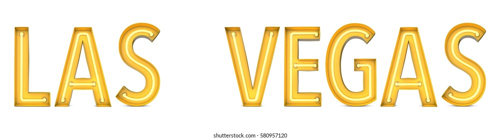 Las Vegas - City word in yellow neon style lettering. 3D rendering