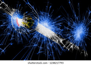 Las Vegas, Nevada fireworks sparkling flag. New Year, Christmas and National day concept. United States of America