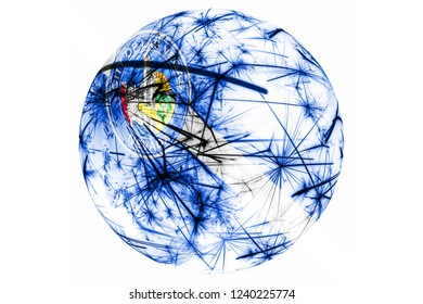 Las Vegas, Nevada fireworks sparkling flag ball. New Year, Christmas and National day ornament and decoration concept