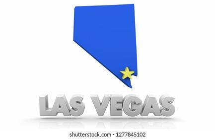 Las Vegas NV City State Map 3d Illustration