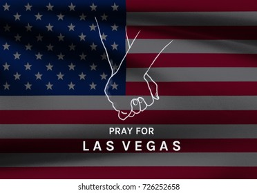 Las Vegas shooting, hope and condolences Illustration design with wording Pray for Las Vegas & hand hold together on USA flag background, Hope for the surviving victims in Las Vegas, USA