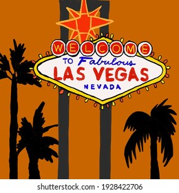 Las Vegas sign made with illustrations.