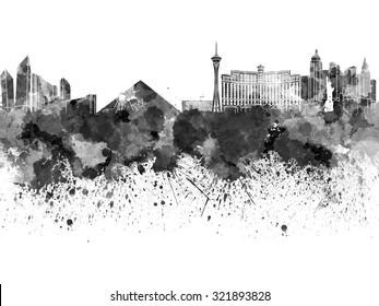 Las Vegas skyline in black watercolor