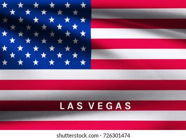 Las Vegas word on USA flag background. Illustration design for hope and condolences in Mandalay Bay shooting at Las Vegas, Nevada United States October 2017.