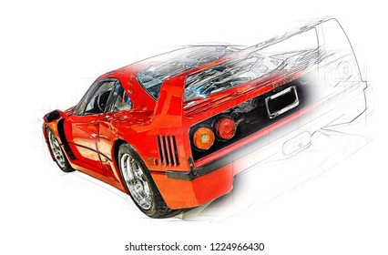 LAS VEGAS,USA-August 10,2006:Ferrari F40 is a mid-engine, rear-wheel drive sports car built from 1987 to 1992, designed to celebrate Ferrari's 40th Anniversary,last model approved by Enzo Ferrari.