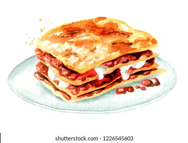 Lasagna on a plate. Watercolor hand drawn illustration isolated on white background
