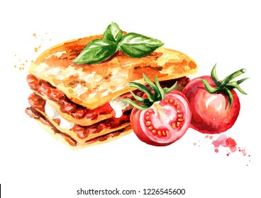 Lasagna with ripe tomatoes. Watercolor hand drawn illustration isolated on white background