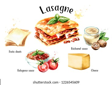 Lasagne recipe set. Watercolor hand drawn illustration isolated on white background