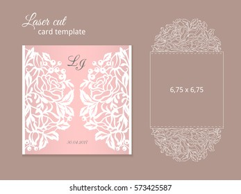 laser cut invitation card template wedding のベクター画像素材
