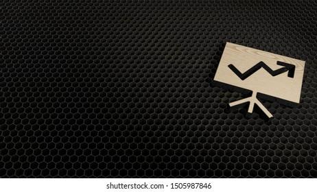 laser cut plywood 3d symbol of presentation board with arrow chart render on metal honeycomb inside laser engraving machine background