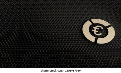laser cut plywood 3d symbol of pie chart with euro symbol render on metal honeycomb inside laser engraving machine background