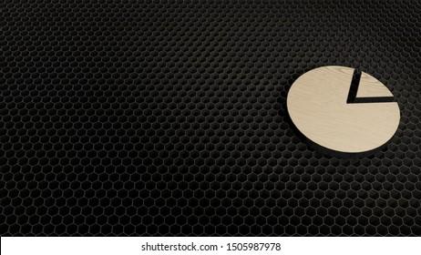 laser cut plywood 3d symbol of pie chart render on metal honeycomb inside laser engraving machine background