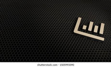 laser cut plywood 3d symbol of column chart  render on metal honeycomb inside laser engraving machine background