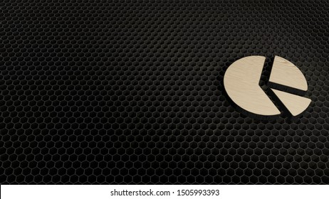 laser cut plywood 3d symbol of circular chart pie divided into triangular areas render on metal honeycomb inside laser engraving machine background
