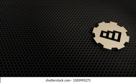 laser cut plywood 3d symbol of gear with bar chart render on metal honeycomb inside laser engraving machine background