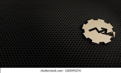 laser cut plywood 3d symbol of gear chart arrow render on metal honeycomb inside laser engraving machine background