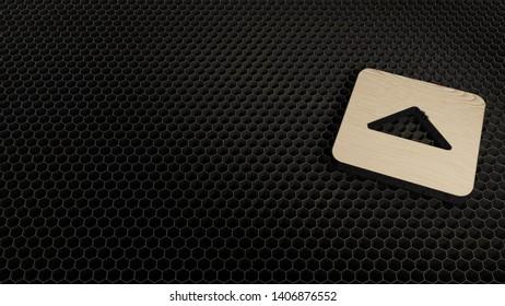 laser cut wooden 3d symbol of caret square up render on metal honeycomb inside laser engraving machine
