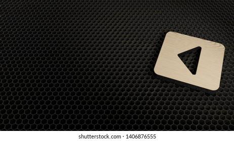 laser cut wooden 3d symbol of caret square left render on metal honeycomb inside laser engraving machine
