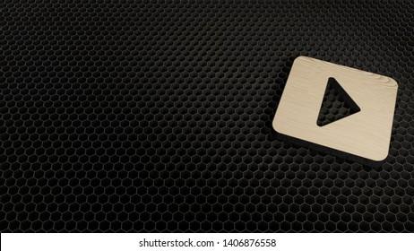 laser cut wooden 3d symbol of caret square right render on metal honeycomb inside laser engraving machine
