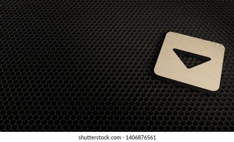 laser cut wooden 3d symbol of caret square down render on metal honeycomb inside laser engraving machine