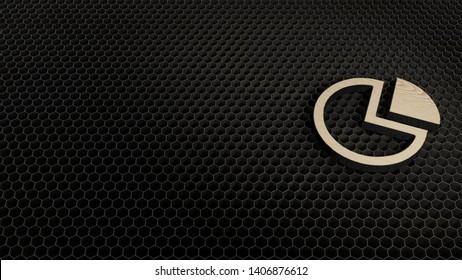 laser cut wooden 3d symbol of pie chart with slice render on metal honeycomb inside laser engraving machine
