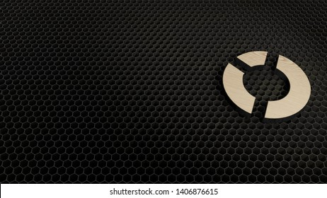 laser cut wooden 3d symbol of pie chart with two slices render on metal honeycomb inside laser engraving machine