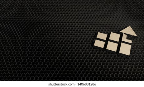 laser cut wooden 3d symbol of bar chart with three columns and arrow render on metal honeycomb inside laser engraving machine
