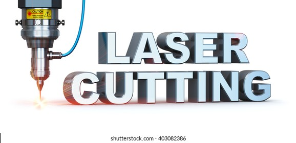 Laser cutting metal industry concept: industrial digital CNC - computer numerical control CO2 invisible laser beam cutter machine with symbol text isolated on white background