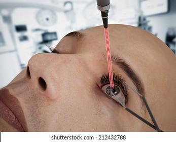 Laser eye surgery on 3D CGI character.