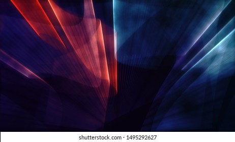 Laser neon red and blue light rays flash and glow. Festive concert club and music hall abstract 3D illustration for pop, rock, rap music show. Colorful design overlay