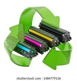 Laser printer CMYK toners inside recycle arrows. 3D illustration.