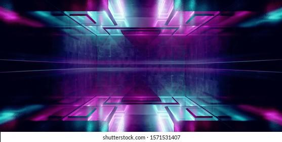 Laser Show Club Dark Neon Sci Fi Futuristic Retro Purple Blue Glowing Ceiling Lights Concrete Grunge Garage Stage Tunnel Room Hall 3D Rendering Illustration