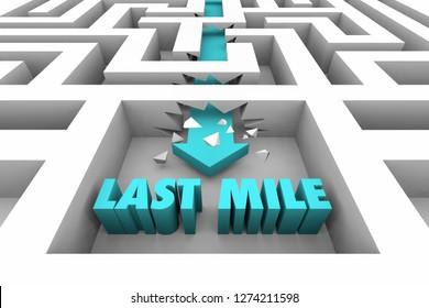 Last Mile Final Stretch Destination Maze Arrow Words 3d Illustration