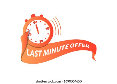 Last minute offer text on red gradient banner, with stopwatch, isolated on white background