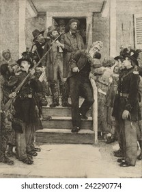 THE LAST MOMENTS OF JOHN BROWN, etching based on the 1884 painting by Thomas Hovenden.