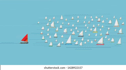 Last Place Concept, Boat with Red Sail falling behind the Fleet, Nautical, Illustration, Sailboats, Winning & Losing, Leadership, Coming in Last, Flotilla of Sailboats, Behind the rest, Catching Up
