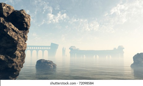 Last remains of the ruined lost city of Atlantis viewed across a misty sea, 3d digitally rendered illustration