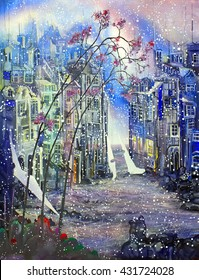 Last spring snow in abstract city