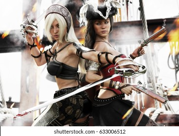 The last stand. Two pirate females battling for control of there ship . 3d rendering