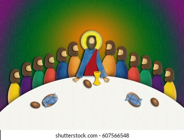 Last supper of Jesus Christ with apostles. Modern textured abstract digital illustration.