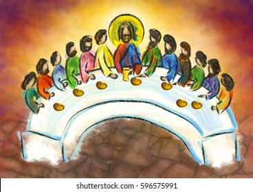 Last supper of Jesus Christ with twelve apostles on Holy or Maundy Thursday. Abstract artistic digital illustration.