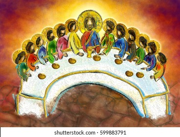 Last supper of Jesus Christ with twelve apostles on Holy or Maundy Thursday. Abstract artistic digital textured illustration.