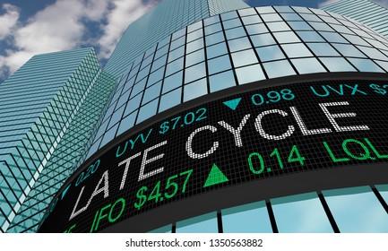 Late Cycle End Positive Trend Stock Market Ticker 3d Illustration